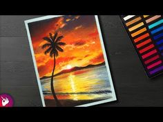 How to draw a Scenery - Cloudy Sunset scenery - Landscape scenery drawing - YouTube