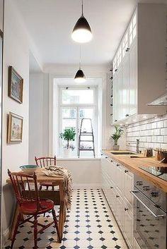 cocinas alargadas trucos para evitar el efecto pasillo - Cocinas Alargadas
