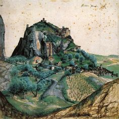 View of the Arco Valley in the Tyrol by Albrecht Durer, 1495 Northern Renaissance landscape — Artful for Mac Albrecht Durer, Landscape Drawings, Landscape Art, Landscape Paintings, Art Drawings, Melencolia I, Renaissance Kunst, Art Sur Toile, Gouache