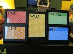 This is my new weekly calendar for my classroom compliments of a pin I saw using frames and dry erase.  I used colorful patterns based on my daily color scheme in my room.  I will be pinning more classroom decorations/ideas that I working on for this year when I am finished them!