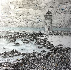 Pen and watercolor on Arches paper Arches Paper, Pen And Watercolor, Sketchbook Inspiration, Mark Making, Lighthouse, City Photo, Watercolors, Drawings, Sketching