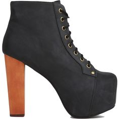 Jeffrey Campbell Lita Black Distressed Platform Booties (160 AUD) ❤ liked on Polyvore featuring shoes, boots, ankle booties, heels, high heels, black distressed, high heel ankle booties, lace up platform booties, lace up chunky heel booties and high heel boots