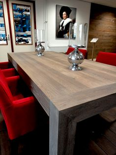 gerookt eiken tafel Norfolk blokpoot model. http://www.fairwood.nl/Eikentafels.html