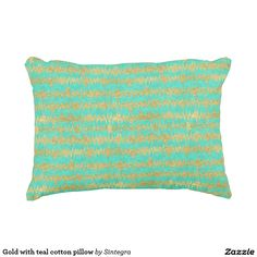 Gold with teal cotton pillow
