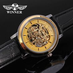 2016 T-WINNER New Classic Men Gold color Case Skeleton Mechanical Watch