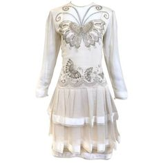Preowned 80s Zandra Rhodes Off White Silk Dress With Butterfly Print ($975) ❤ liked on Polyvore featuring dresses, white, vintage dresses, white day dress, champagne silk dress, champagne dresses and vintage 80s dress