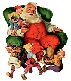 Images of Santa Claus were further popularized through Haddon Sundblom's depiction of him for The Coca-Cola Company's Christmas advertising in the 1930s.  The popularity of the image spawned urban legends that Santa Claus was invented by The Coca-Cola Company or that Santa wears red and white because they are the colors used to promote the Coca-Cola brand.