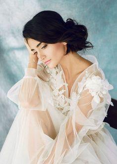 9c1361191e Boudoir dress Whitney 3d lace boudoir gown Long sleeve bridal gown Luxury  boudoir robe Getting ready robe