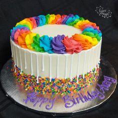 Round Birthday Cakes, Pretty Birthday Cakes, Rainbow Birthday Party, Colorful Cakes, Cake Gallery, Drip Cakes, Cute Cakes, Themed Cakes, Party Cakes
