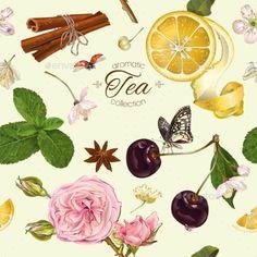 Vector Aromatic Tea Pattern