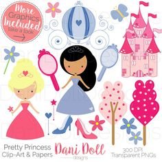 Pretty Princess Pink & Blue 70 Clip Art Graphics and 8 Scrapbooking Papers Set PNG JPEG 300DPI Instant Download Handmade by danidolldesignsx