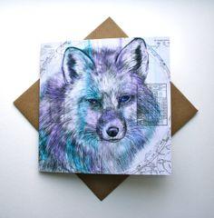 Original Xmas Card Ideas! Celestial Fox Fine Art Greetings Card by louisemcnaughtcards,
