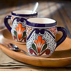 Talavera-style Mugs - Set of 2