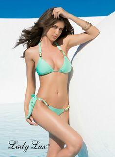 Hard To Get Mint Bikini by Lady Lux® #mint #bikini #mintbikini #goldchain #hardtoget #ladylux #luxuryswimwear