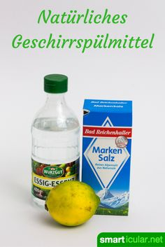 Bio-Geschirrspüler-Konzentrat selber machen Inexpensive and environmentally friendly. Homemade dishwashing liquid for the dishwasher made of lemon, salt and vinegar. Diy Household Tips, Diy Cleaning Products, Cleaning Hacks, Cleaning Supplies, Homemade Dishwashing Liquid, Paper Pot, Biologique, Natural Cosmetics, Spray Bottle