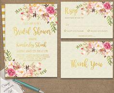Floral Bridal Shower Invitation, Bohemian Bridal Shower Invitation,Floral Bridal…
