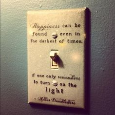 Happiness can be found even in the darkest of times, if one only remenbers to turn on the light.  Albus Dumbledore