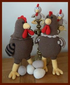 amigurumi, crochet, poules