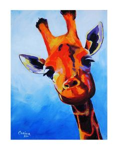 Curious Giraffe Print    This listing is for a PRINT of an original painting that I have done. Printed on acid free paper ready for framing.