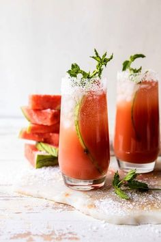 Fresh watermelon juice, orange juice, tequila, lime juice, and a little sparkling water Drinks Alcohol Recipes, Vodka Drinks, Cocktail Drinks, Cocktail Recipes, Beverages, Vodka Martini, Drink Recipes, Watermelon Cocktail, Margarita Recipes