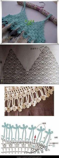 24 Ideas Crochet Top Diy Tutorials Ganchillo For 2019 Crochet Diy, Diy Crochet Bikini, Crochet Yoke, Mode Crochet, Crochet Motifs, Crochet Diagram, Crochet Woman, Crochet Blouse, Crochet Chart