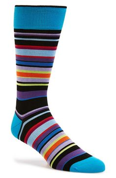 Men's Bugatchi Stripe Cotton Blend Socks - Black