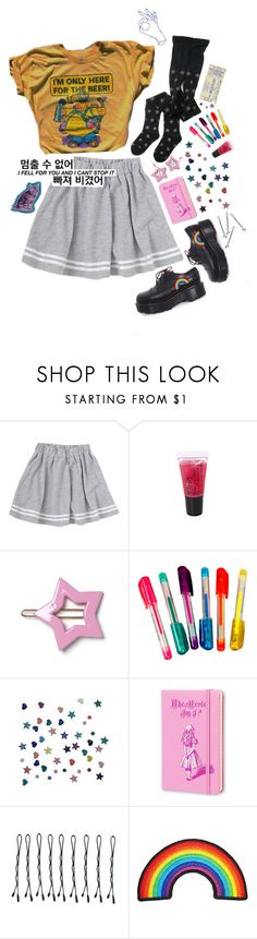 """I don't wanna fell blue anymore"" by idkwalsh ❤ liked on Polyvore featuring Dr. Martens, Dylan's Candy Bar, BOBBY, yellow and skirt"