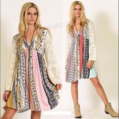 Boutique Dresses - Plus size lace sleeves boho printed dress flowy
