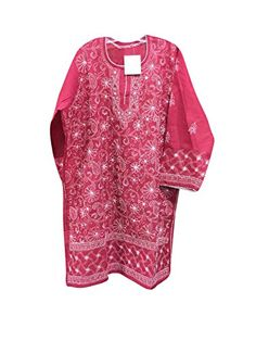 Womens Tunic Lucknowi Hand Embroidered Raspberry Cotton B... https://www.amazon.com/dp/B01NBNJHBP/ref=cm_sw_r_pi_dp_x_K8oyyb8KQC8QF #kurti #tunic #bohemian #boho #indiankurti