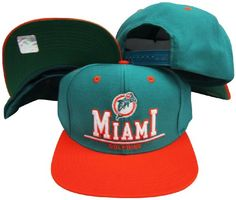 Miami Dolphins Green/Orange Plastic Snapback Adjustable Hat / Cap  http://allstarsportsfan.com/product/miami-dolphins-greenorange-plastic-snapback-adjustable-hat-cap/  Adjustable plastic snapback cap Embroidered Logos One Size Fits All