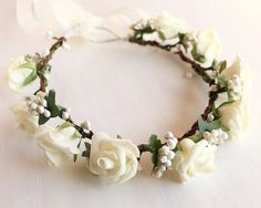 Cream Rose Bridal Crown Flower Girl Rose Wreath by HandyCraftTS