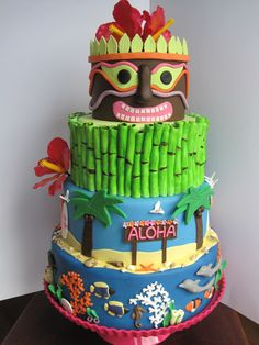 I want to use this theme but skip the third layer and use an extra big round cake for the bottom Hawaiian Birthday Cakes, Luau Birthday, Hawaiian Cakes, Luau Party Cakes, Tiki Party, Ocean Cakes, Beach Cakes, Funny Cake, Occasion Cakes