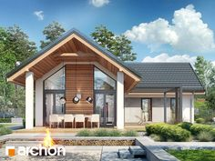 Dom w marzankach (Archon) Small Modern House Plans, Modern Barn House, Modern House Design, Roof Styles, House Styles, Gable House, Compact House, French Country House Plans, Bungalow House Design