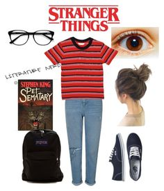 """Stephanie Stranger things"" by wtfgianna on Polyvore featuring Miss Selfridge, Vans, JanSport, EyeBuyDirect.com and StrangerThings"