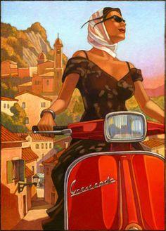 Travel on a Vespa! Vintage Italian Posters, Vintage Travel Posters, Vintage Ads, Vintage Vespa, Poster Retro, Poster S, Vespa Girl, Scooter Girl, Retro Scooter