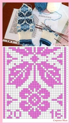 * Fair isle mittens with flowers and leaves. - Jacquard - the Country of Mothers Knitted Mittens Pattern, Fair Isle Knitting Patterns, Knit Mittens, Knitting Charts, Knitted Gloves, Knitting Stitches, Knitting Socks, Crochet Patterns, Yarn Projects