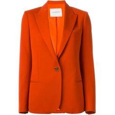 Lanvin Jacket ($2,450) ❤ liked on Polyvore featuring outerwear, jackets, red, red wool jacket, lanvin, red jacket, single breasted jacket and orange jacket