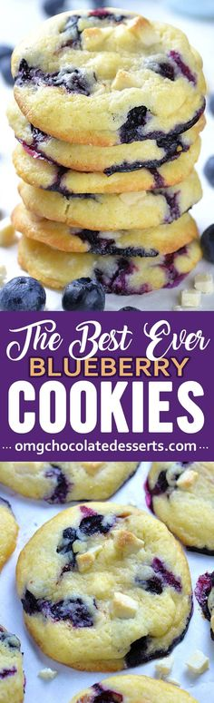 Best Ever Blueberry Cookies These easy blueberry cookies are also the best: light as air with crispy exteriors and soft, cream cheese and fruit-filled middles. Fruity, soft, and chewy cookie studded with creamy white chocolate chips. Blueberry Cookies, Blueberry Recipes, Blueberry Jam, Blueberry Chocolate, Strawberry Cookies, Cream Cheese Cookies, Cookies Et Biscuits, Cookies Soft, Cake Cookies