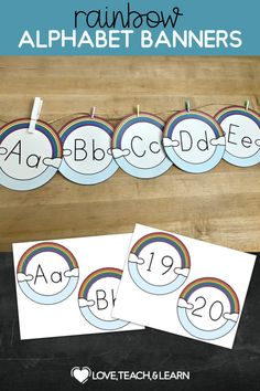 Rainbow Alphabet Banners : Hang these alphabet banners on your wall so that your students can review the handwriting letter strokes. You can also use these for your word wall. Great for Kindergarten, preschool, and homeschool. Kindergarten Activities, Classroom Activities, Classroom Decor, Fun Activities, Teaching Kids, Kids Learning, Teaching Resources, Primary Teaching, Letter Formation