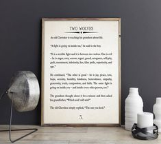 Two Wolves Story Large Book Page Wall Art Book Page Quote Cherokee Story Native American Quote Wise Book Quote Wisdom Art Wisdom Book Page by WallBuddy on Etsy Two Wolves Story, Wise Books, Canvas Wall Art, Wall Art Prints, Native American Quotes, Music Wall Art, French Words, Free Prints, Book Pages