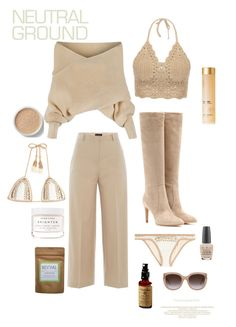 """""""Bare"""" by gwaihape ❤ liked on Polyvore featuring WithChic, Piazza Sempione, SHE MADE ME, Bare Escentuals, Herbivore, Onira Organics, OPI, Yves Saint Laurent and Gianvito Rossi"""