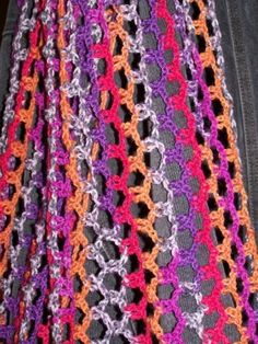 #crochet scarf using just chain and slip stitches! YAY !!! just what I was looking for!