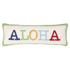 Hand-hooked wool and cotton pillow with a typographic motif.   Product: PillowConstruction Material: Wool and cotton cover and polyester fillColor: MultiFeatures: Insert includedDimensions: 8 x 24 Cleaning and Care: Spot clean