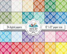 FLORAL DAMASK  Digital paper pack  Instant download  by DigitalBay