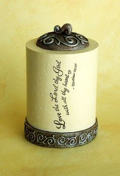 Tealight Holder - Love the Lord / Scripture: Love the Lord thy God with all thy heart.  (Matt 22:37)  Get it now for $11.90