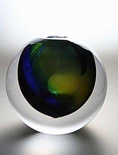 Leerdam Glassblowing: Special glass art object created by master glassmaker Gert Bullee designed by Patrick de Keijzer