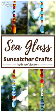 DIY Sea glass suncatcher. Learn how to make sea glass suncatcher crafts with blue, red, green, and clear sea glass beads! Sea glass suncatchers are a beautiful craft and homemade gift idea that both kids and adults can make.   Rhythms of Play Glass Bead Crafts, Glass Beads, Craft Projects For Kids, Kids Crafts, Dyi Crafts, Kids Diy, Diy Projects, Craft Ideas, Homemade Mobile