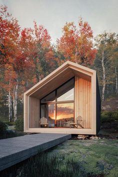 841047299141876564 / Small house / Prefab homes / Mini homes / Cabins in the woods / Modern tiny house Modern Tiny House, Tiny House Cabin, Modern Wood House, Small Modern Cabin, Cabin Loft, Contemporary Cabin, Modern Cottage, Contemporary Design, Lake Cabins