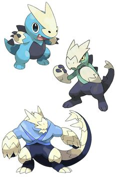 Fakemon: Aguade (Water), Iguadium (Water/Fighting) and Aguanaut (Water/Fighting).