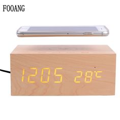 [ Off ] FOOANG Wireless speaker bluetooth speakers wood universal qi Wireless charger clock thermometers desktop AUX for tv PC phone Wooden Speakers, Built In Speakers, Bluetooth Speakers, Speaker Amplifier, Electronic Deals, Usb, Samsung, Digital Alarm Clock, Iphone